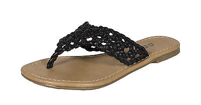 c1becfdf3fd25b Delux-2! Soda Kid s Girly Braided Flip-flop Thong Sandals in Black  Leatherette