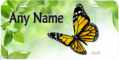 Yellow  Butterfly Aluminum Car Novelty License Plate P04