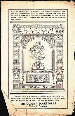Lyceum Theatre Ithaca NY Program December 9-14 1912 Kirk Brown in the Wife