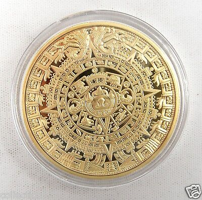 Mayan Aztec Calendar Stone Medallion GOLD-PLATED, Clear Plastic Case