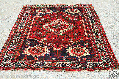c1920s 5x8ft Red Beauty and Wool Antique Kurdish Tent Woven Tribal Pile Rug