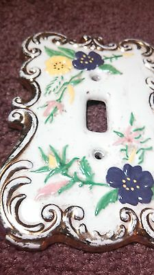 Vintage Ceramic Light Switch Plate Holland Mold With Flowers