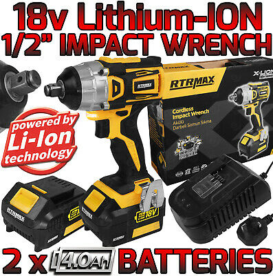 """24v Li-Ion Cordless Impact Wrench Gun 1/2"""" Drive With 2 Twin Lithium Batteries"""