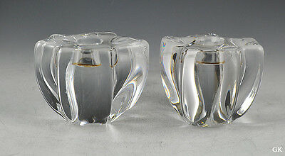 Pair of 2 Neat French Glass Candle Holders Signed Daum
