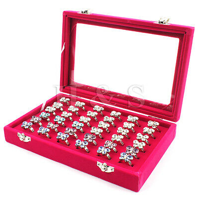 Top Quality Glass Lid 36 Ring Jewellery Display Storage Box Tray Case Stand ---H