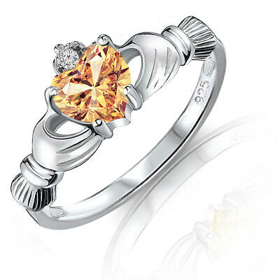 Genuine Citrine Heart Claddagh Sterling Silver Ring