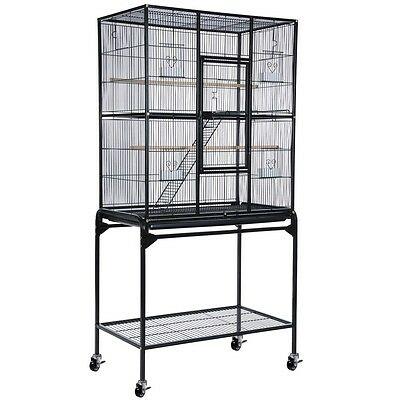 "Overall 32x18x64"" Black Bird Parrot Chinchillas Ferret Cage Cockatiel w/ Stand"