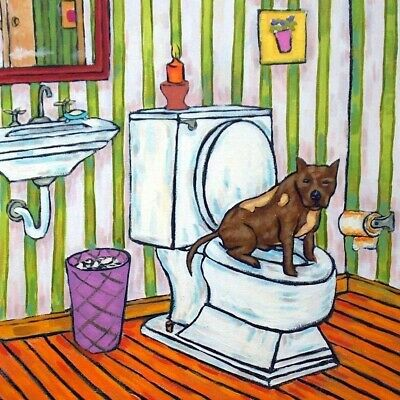 Pit bull dog art coaster gift bathroom tile new gift on toilet impressionism