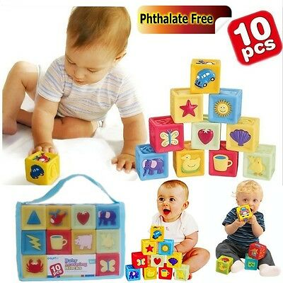 Baby Kid Child SET of 10 Mix & Match Soft Vinyl Rubber Squeaky Blocks Stack Toy