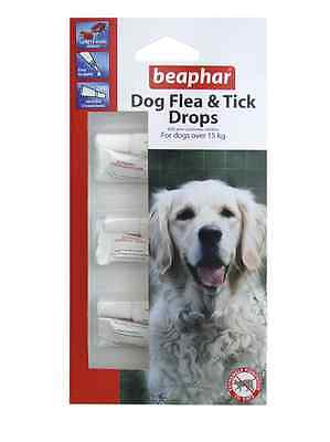 Beaphar Large Dog Flea And Tick Drops 12 Weeks 3 Treatments Dogs Over 15Kg New