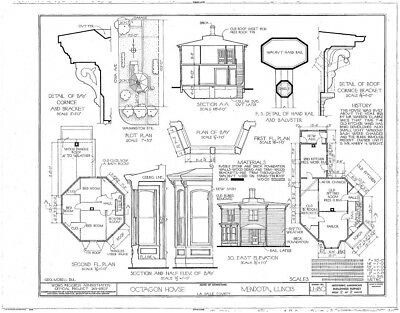 Victorian Octagon home, beautifully detailed porch & cornice architectural plans