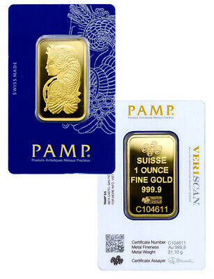 PAMP Suisse 1 Troy oz .9999 Gold Fortuna Bar VeriScan Assay Certificate