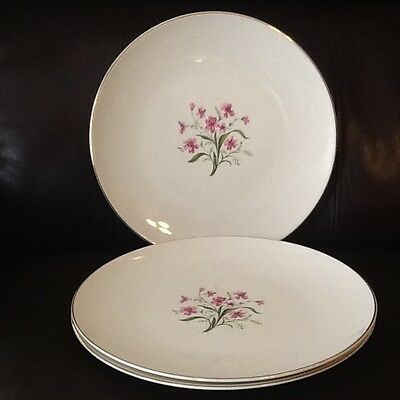 "KNOWLES Lot of 3 'Spring Song' 2298 Pink Flowers Gold Trim 10"" Dinner Plates"