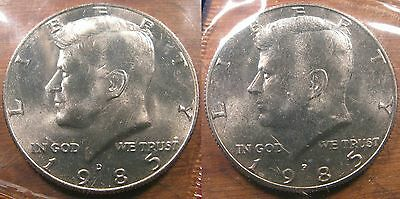 1985 P D Kennedy Half Dollar Coin Set 2 Brilliant Uncirculated Mint Set Coins