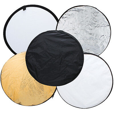 """43"""" 5 in 1 Photography Studio Multi Photo Disc Collapsible Light Reflector 110cm"""
