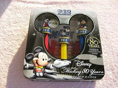PEZ COLLECTIBLES--Mickey 80 Years Collection with Vintage Mickey Poster