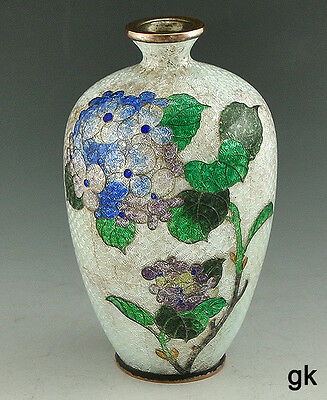 Gorgeous Japanese Cloisonne Miniature White Vase Purple Flowers