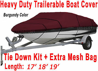17' 18' 19' stratos Bass Trailerable Boat Cover Burgundy Color BSTB3121R