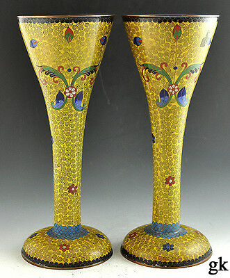 2 Very Nice Chinese Cloisonne Vases Floral Designs on a Yellow Background