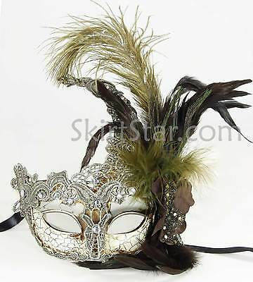 Venetian Mask Crystals Silver Masquerade Ball Fancy Dress Costume Feather Prom