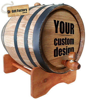Wooden Oak Barrel 5L-Black rustic rings- Wine,Port,Rum. FAST & FREE DELIVERY