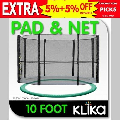 GREEN 10ft REPLACEMENT OUTDOOR TRAMPOLINE SAFETY NET AND SPRING PAD COVER