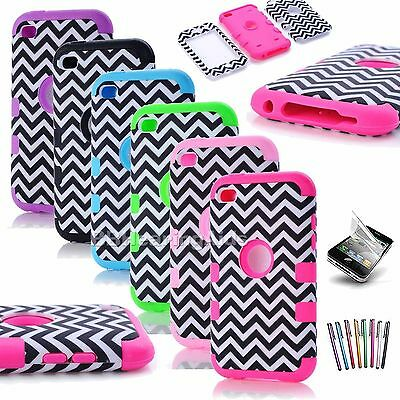 Colorful Waves Heavy Duty Impact Hard Soft Case Cover for iPod Touch 4 4th Gen