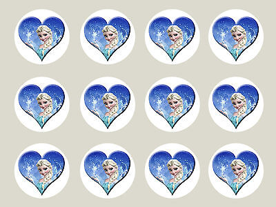 12 X Frozen Real Edible Icing Cupcake Image Party Toppers Frosting Sheet
