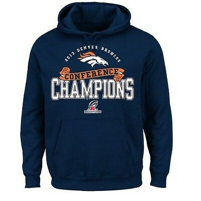 NFL DENVER BRONCOS MEN'S CONFERENCE CHAMPIONS PULLOVER HOODIE HOODY 4XL