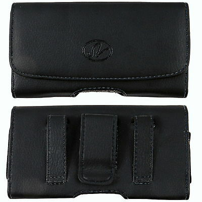 Leather Sideways Belt Clip Case for Cell Phones fits w/ Otterbox Commuter on it