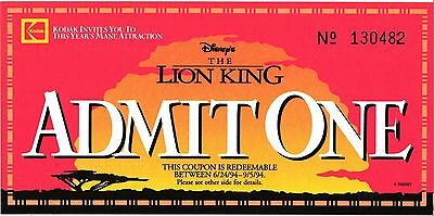 Unused Ticket To Walt Disney's The Lion King Movie 6/24/94-9/5/94