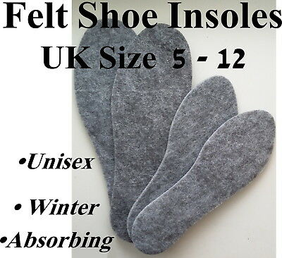 Felt Shoe Insoles Real Felt Heat Saving Unisex Warm Winter Sweat Absorbing Odor