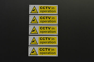 *Pack of 5* CCTV In Operation Signs Or Stickers 150mm x 50mm Silk Screen Printed