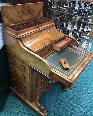 To Clear Beautiful Rare Ladies Davenport Small Desk. Burr Walnut And Original.