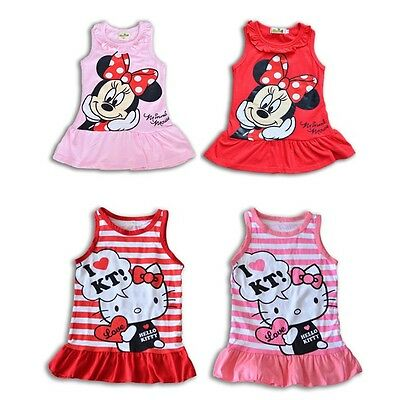 Pink & Red Minnie Mouse & Hello Kitty Summer Dress For Toddler Girl (2T-3T-4T)