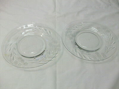Vintage Heisey Glass Etched Dinner/Salad Plates (2)--8 1/2 inches Round-Pattern?
