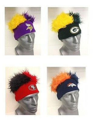 NFL FOOTBALL TEAMS CRAZY FLAIR HAIR BEANIE CAP HAT OFFICIALLY LICENSED