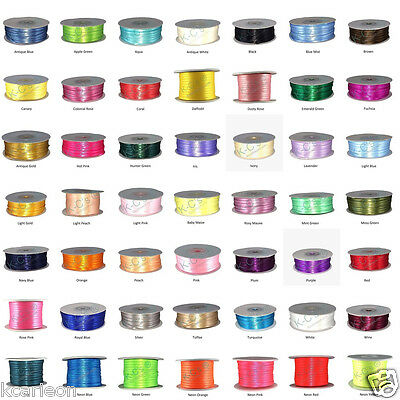 "1/16"" or 1/8"" Double Faced Satin Ribbons 100% Polyester 100 Yards Roll Bulk"