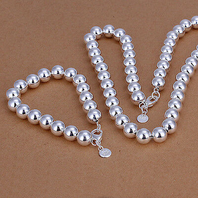 Wholesale 925Sterling Silver 10MM Large Same Buddha Beads Necklace +B Set S082B