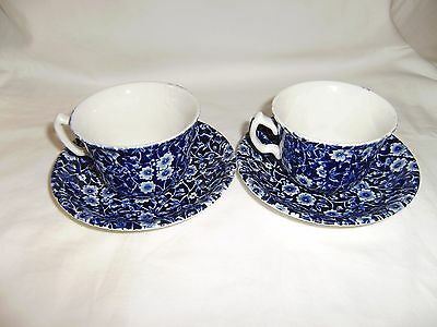 """2 Royal Crownford Cups and Saucers """"Chintz Blue Calico"""""""