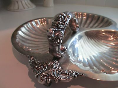"""12"""" Wallace BAROQUE Silverplate Shell 3 Part Divided Serving Tray Dish Vanity"""