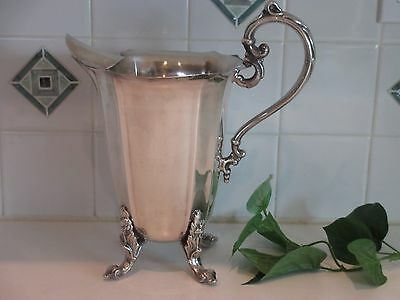 Ornate SILVER PLATE Regency Footed WATER PITCHER Ice Guard marked