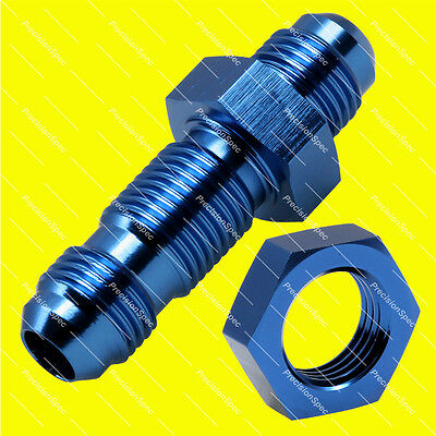 AN6 6AN JIC Straight Flare Bulkhead Fitting Adapter With Nut Blue - 1Yr Warranty