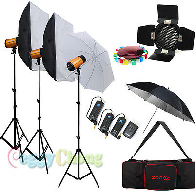 Godox pro Photo Photography 900W Studio Strobe Flash softbox Lighting stand Kit
