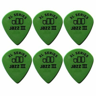 6 X Jim Dunlop Tortex Jazz 3 XL Green .88mm Guitar Picks III *NEW* 498R