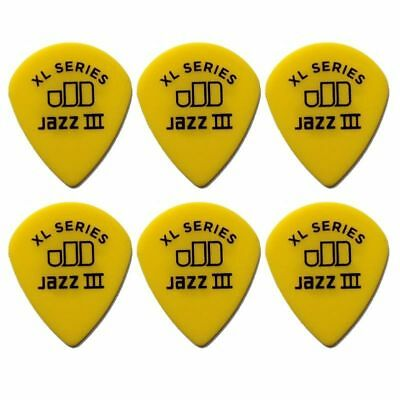 6 X Jim Dunlop Tortex Jazz 3 XL Yellow .73mm Guitar Picks III *NEW* 498R