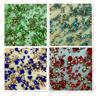 MIXED Sizes Point back Rhinestones Crystal Glass Chatons Strass 50g