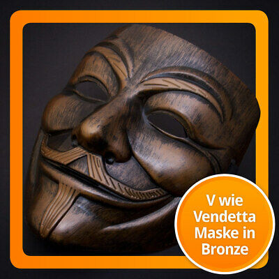 Luxus Bronze-Gold V wie for Vendetta Maske - Guy Fawkes - Occupy Anonymous Mask