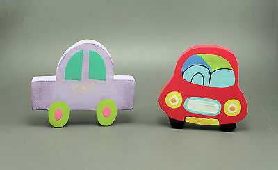 TOY CAR Hand Painted Wood Cut Out Childen's Novelty Drawer Knobs Pulls