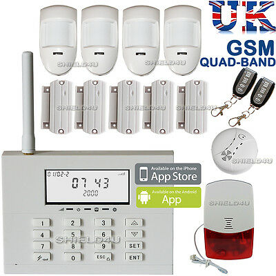 Wireless Lcd Security Dual Gsm / Pstn Autodial House Burglar Intruder Fire Alarm